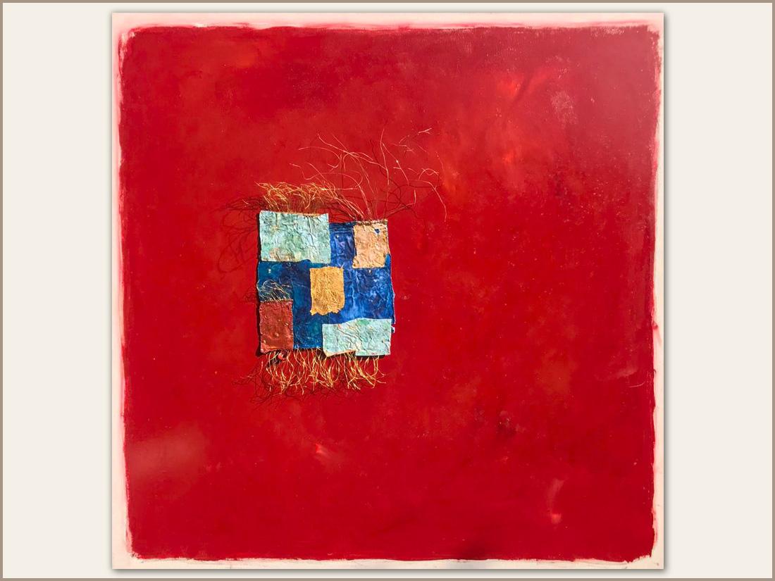 Arnia, Olio su tela e tubetti usati di pittura, 100x100 cm, 2021