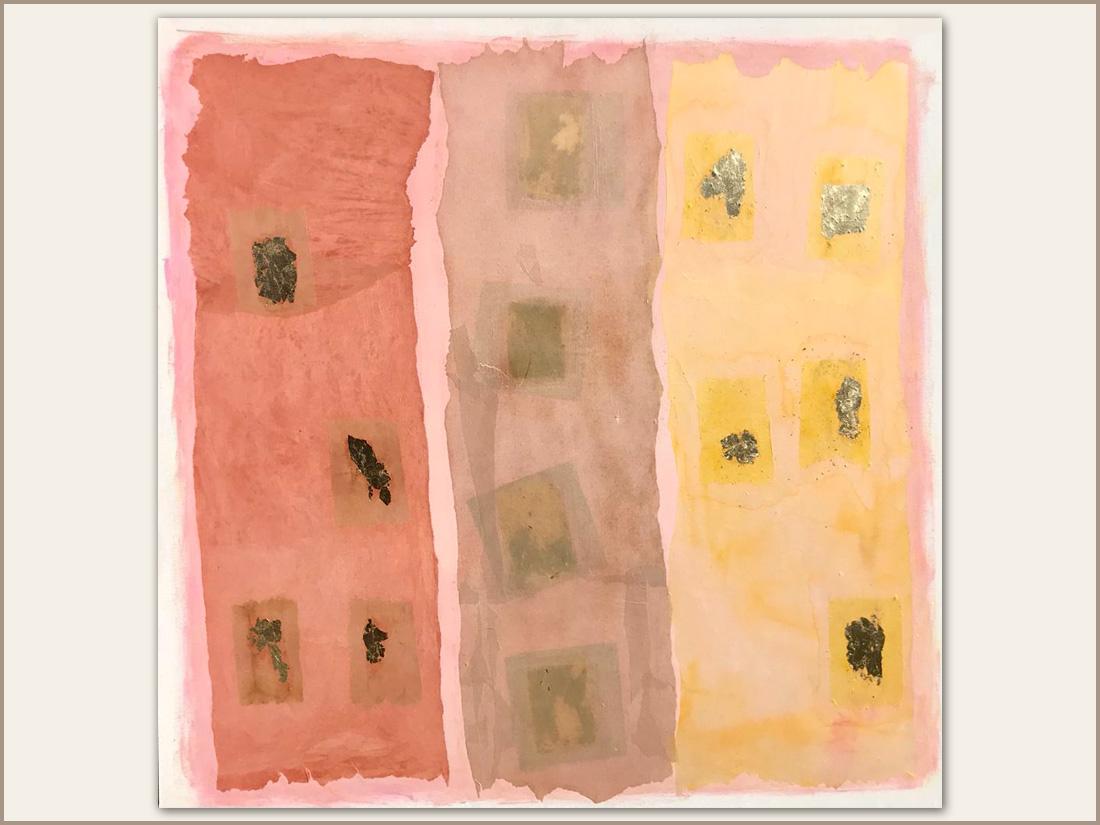 Miele, Olio su tela con carta tinta e foglie d'oro, 100x100 cm, 2021