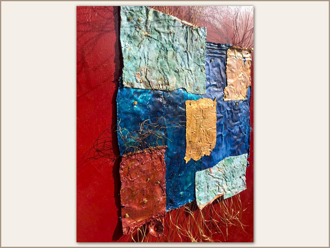 Dettaglio 02 Arnia, Olio su tela e tubetti usati di pittura, 100x100 cm, 2021