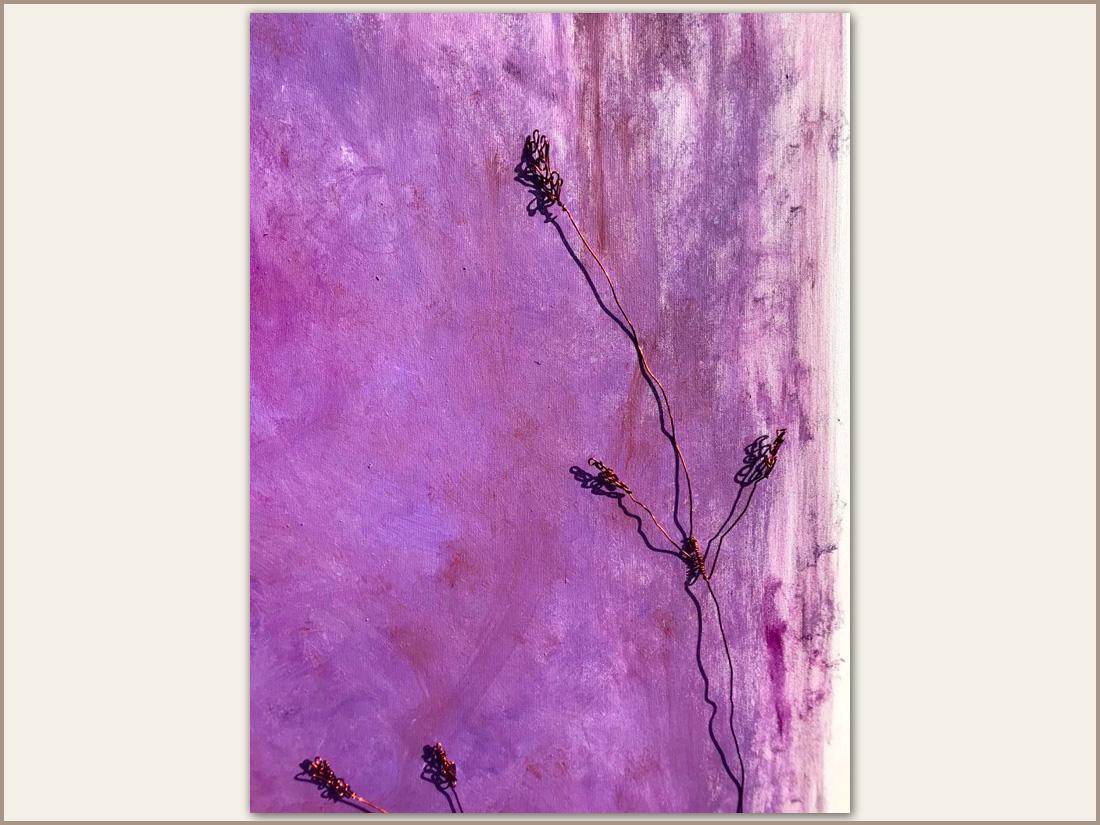 Dettaglio 02: Fiori, Olio su tela con filo di rame , 100x100 cm, 2020