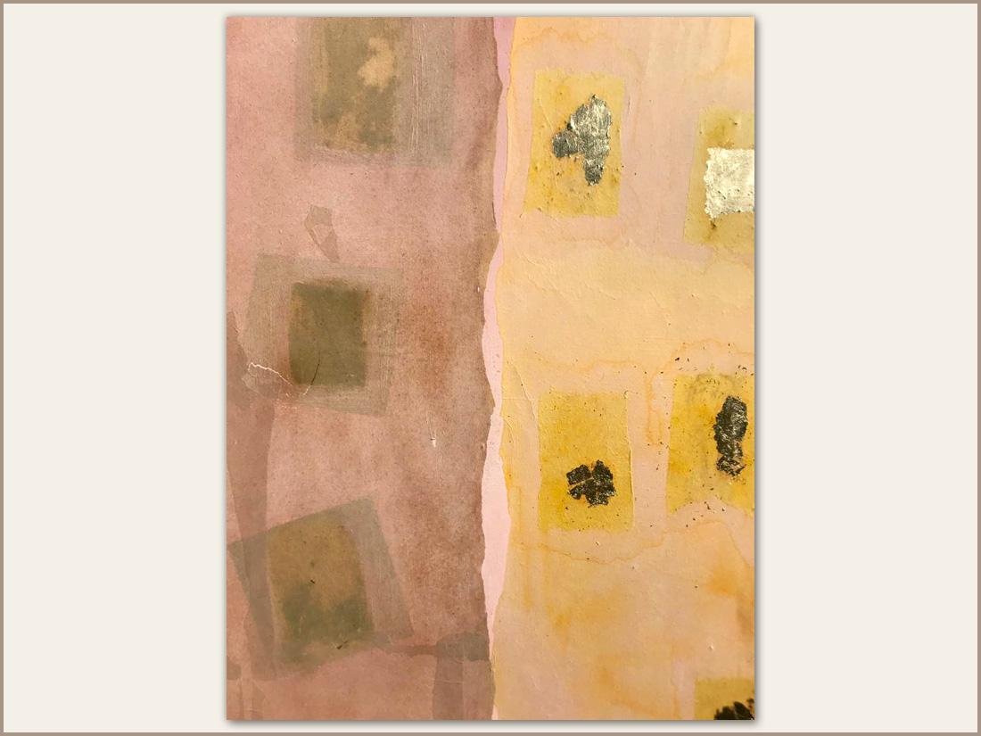 Dettaglio 02 Miele, Olio su tela con carta tinta e foglie d'oro, 100x100 cm, 2021