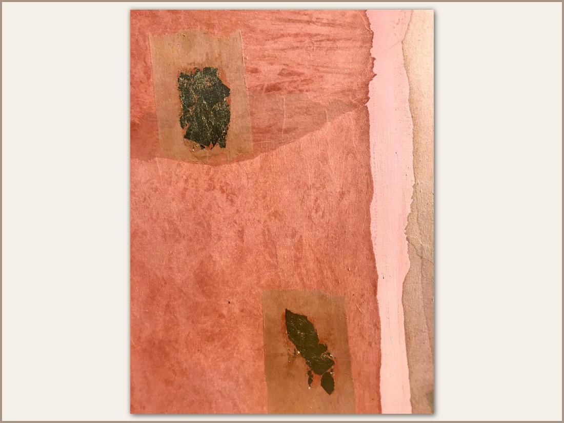 Dettaglio 03 Miele, Olio su tela con carta tinta e foglie d'oro, 100x100 cm, 2021