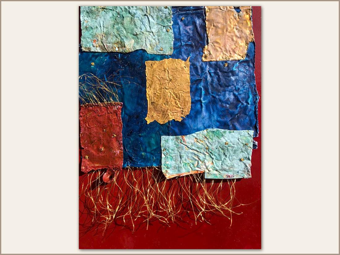 Dettaglio 04 Arnia, Olio su tela e tubetti usati di pittura, 100x100 cm, 2021