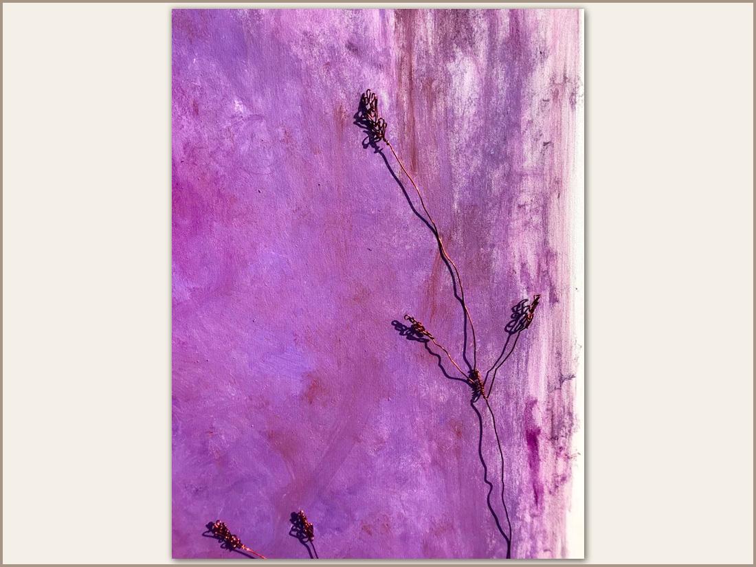 Fiori, Olio su tela con filo di rame , 100x100 cm, 2020