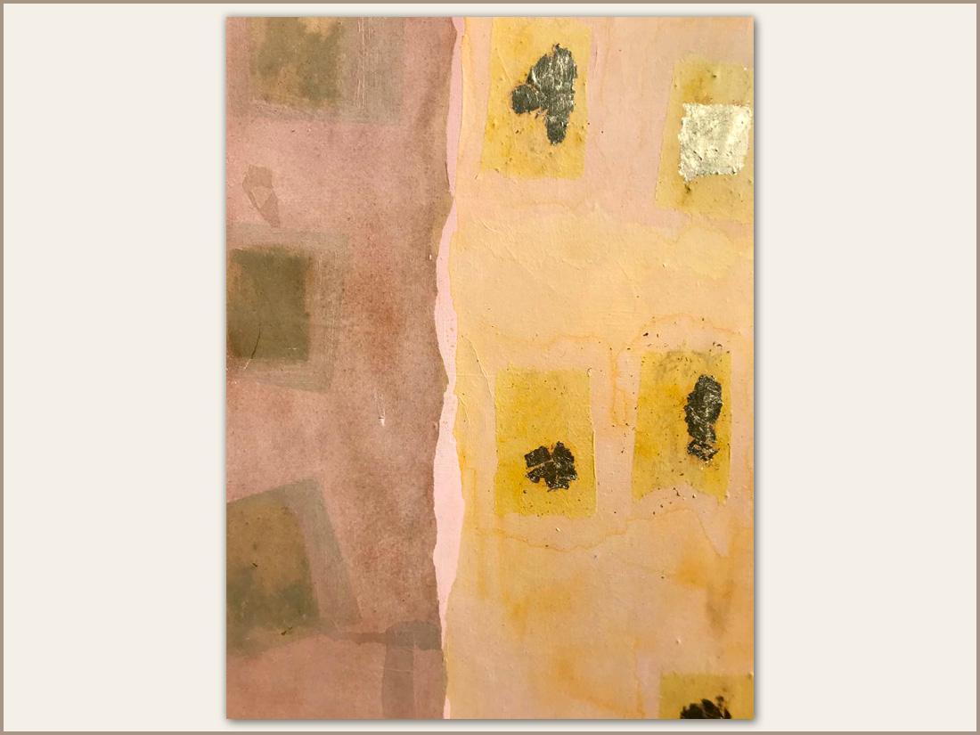 Dettaglio 04 Miele, Olio su tela con carta tinta e foglie d'oro, 100x100 cm, 2021